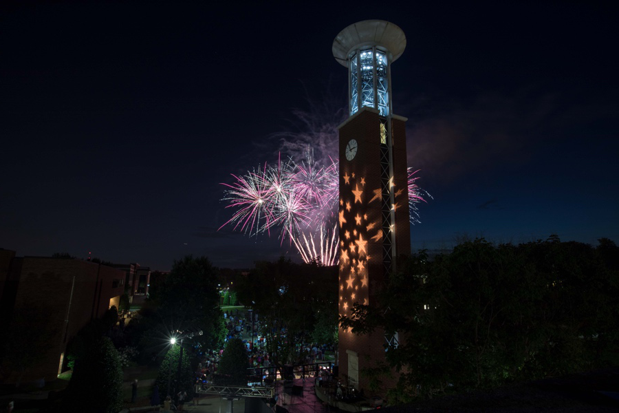 Fireworks by the Bell tower at Summer Celebration