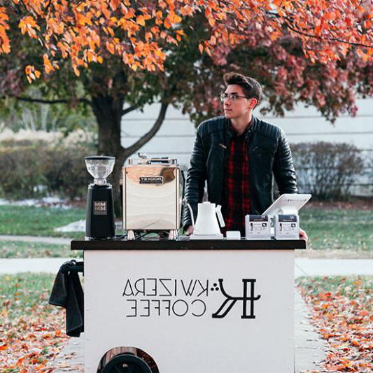 Aidan Miller with coffee cart